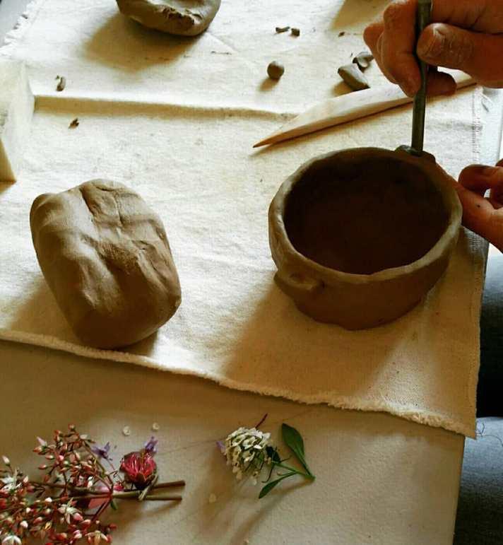 Pottery workshop, tapas, raw clay, pinch pot technique